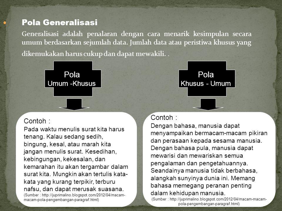 Pola Generalisasi Generalisasi adalah penalaran dengan cara menarik kesimpulan secara umum berdasarkan sejumlah data. Jumlah data atau peristiwa khusu