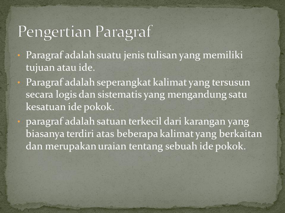 Paragraf adalah suatu jenis tulisan yang memiliki tujuan atau ide. Paragraf adalah seperangkat kalimat yang tersusun secara logis dan sistematis yang