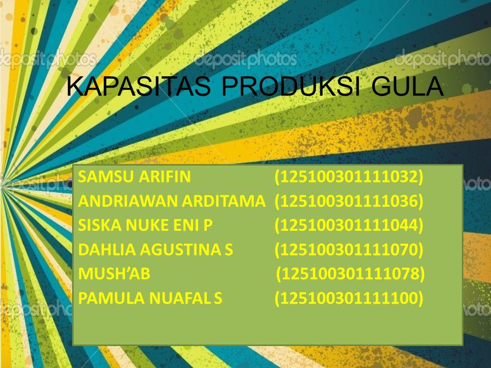 KAPASITAS PRODUKSI GULA SAMSU ARIFIN(125100301111032) ANDRIAWAN ARDITAMA (125100301111036) SISKA NUKE ENI P(125100301111044) DAHLIA AGUSTINA S(1251003