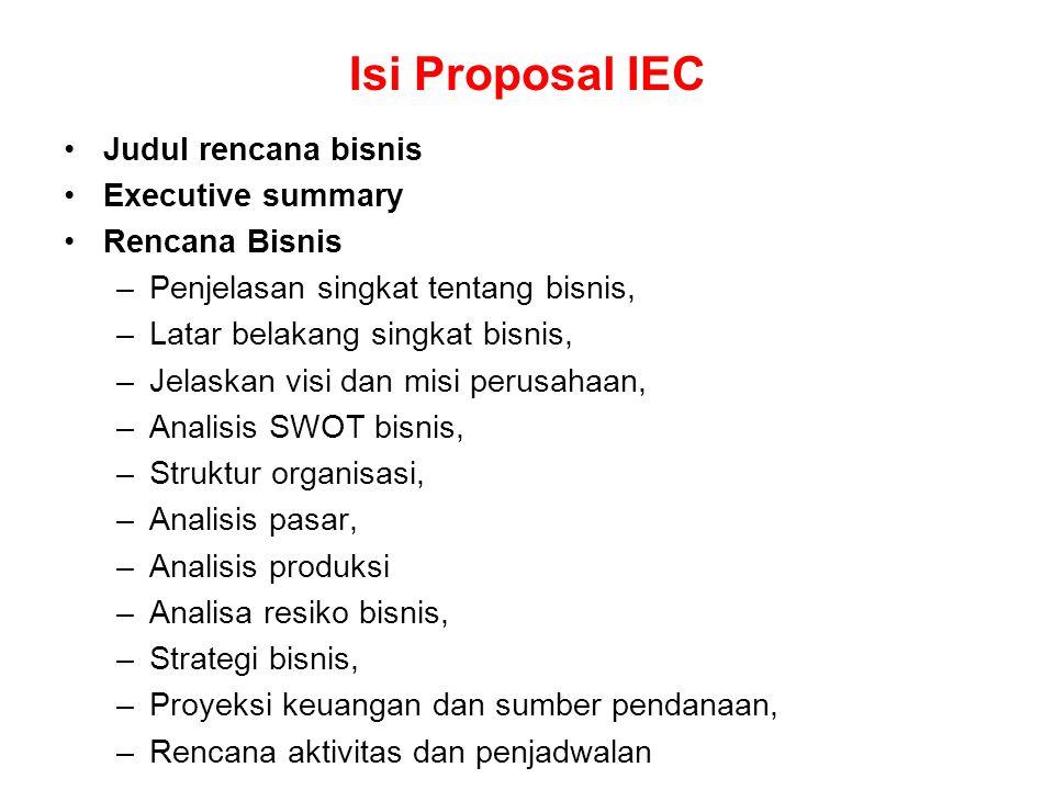 Isi Proposal IEC Judul rencana bisnis Executive summary Rencana Bisnis –Penjelasan singkat tentang bisnis, –Latar belakang singkat bisnis, –Jelaskan v