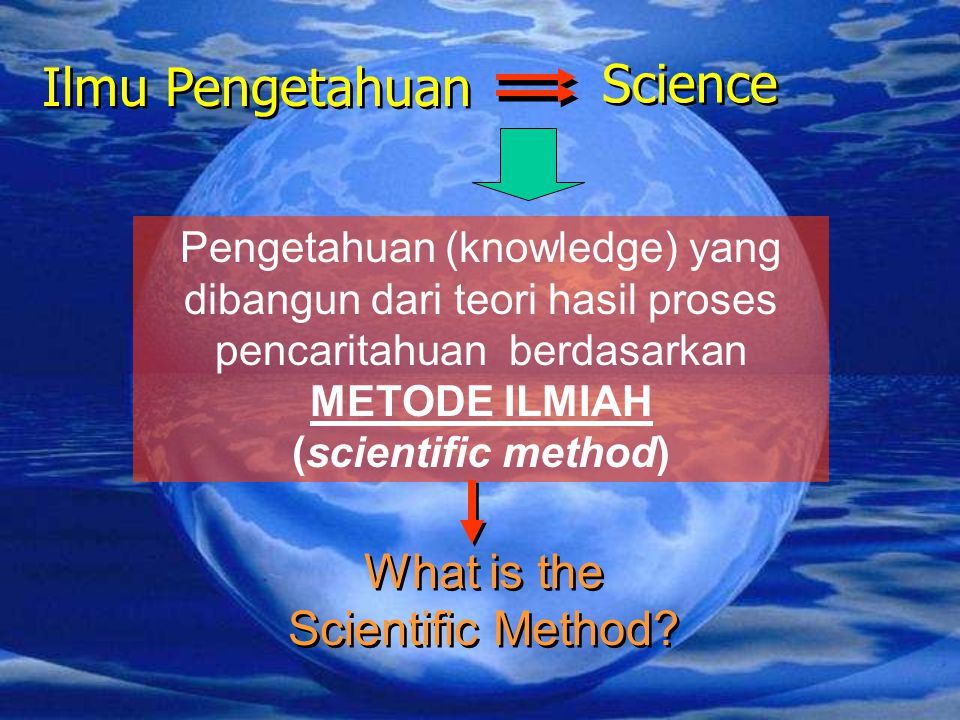 Ilmu Pengetahuan Science Pengetahuan (knowledge) yang dibangun dari teori hasil proses pencaritahuan berdasarkan METODE ILMIAH (scientific method) What is the Scientific Method?
