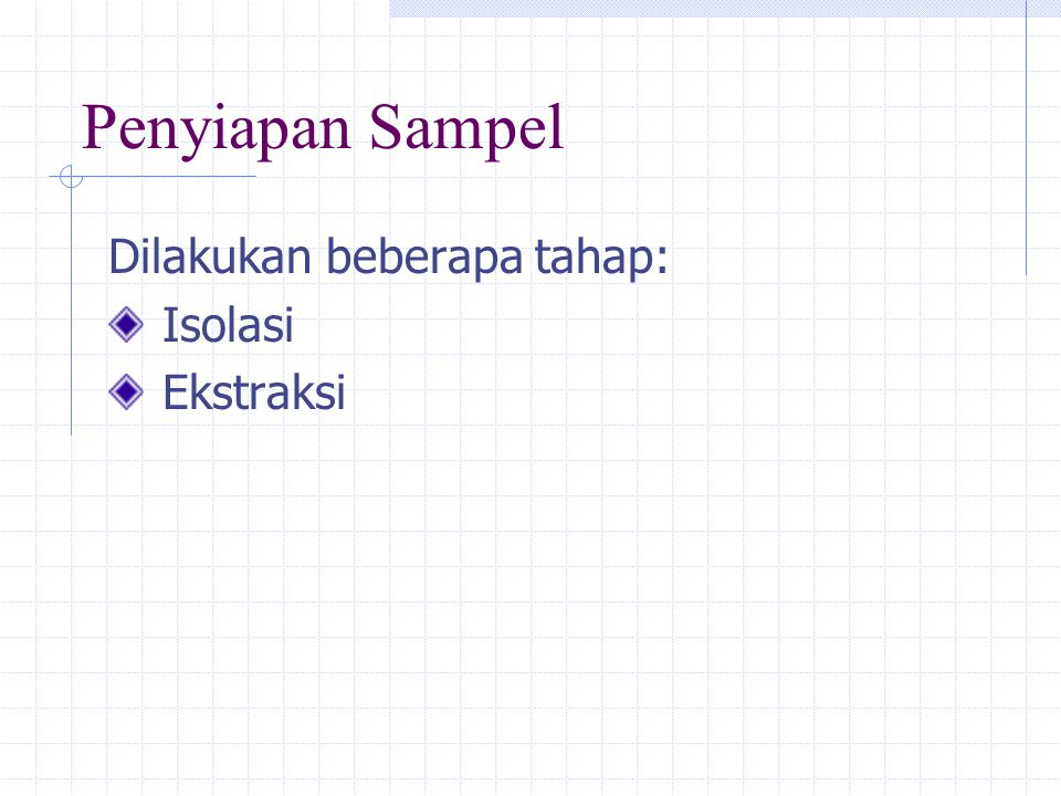 Penyiapan Sampel Dilakukan beberapa tahap: Isolasi Ekstraksi