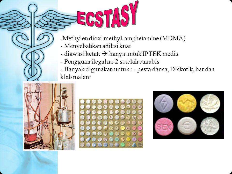 -Methylen dioxi methyl-amphetamine (MDMA) - Menyebabkan adiksi kuat - diawasi ketat:  hanya untuk IPTEK medis - Pengguna ilegal no 2 setelah canabis