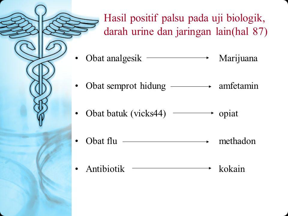 Hasil positif palsu pada uji biologik, darah urine dan jaringan lain(hal 87) Obat analgesikMarijuana Obat semprot hidungamfetamin Obat batuk (vicks44)