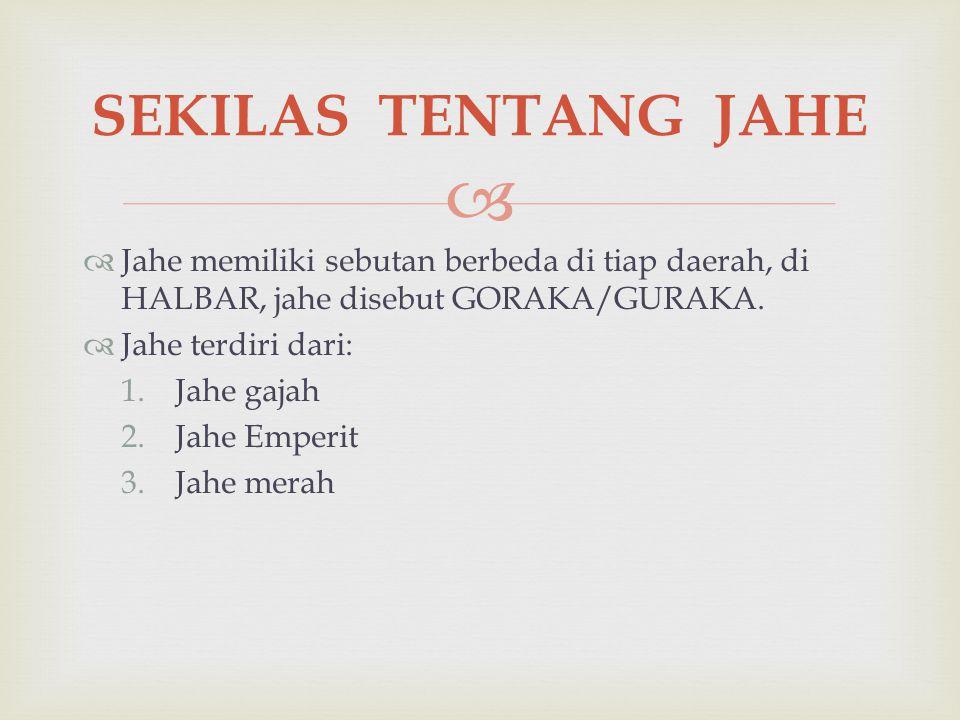   Jahe memiliki sebutan berbeda di tiap daerah, di HALBAR, jahe disebut GORAKA/GURAKA.  Jahe terdiri dari: 1.Jahe gajah 2.Jahe Emperit 3.Jahe merah