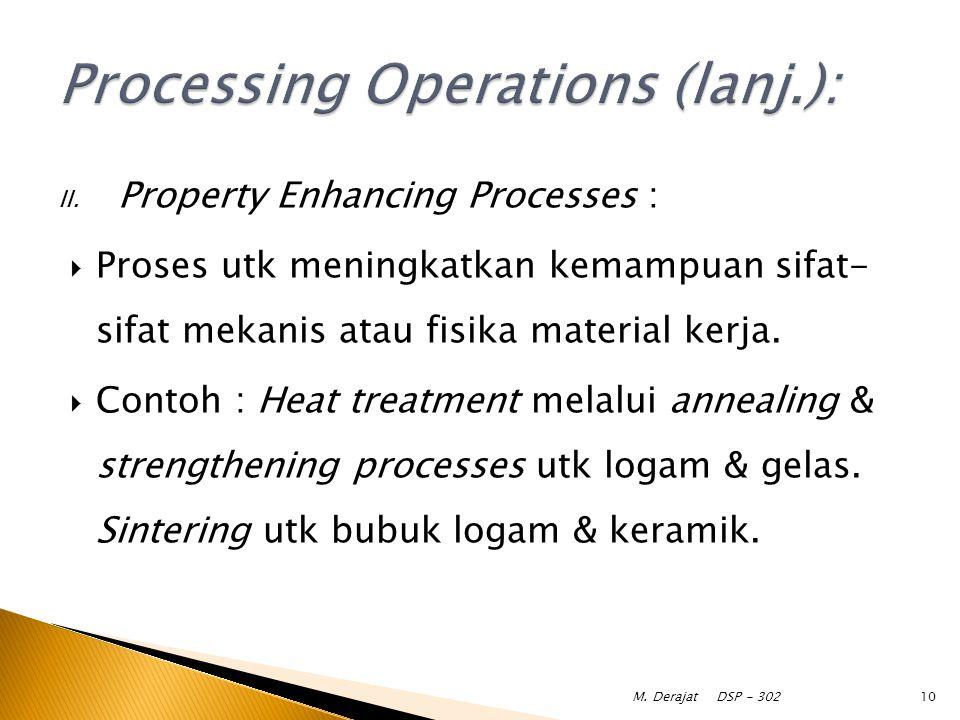 II. Property Enhancing Processes :  Proses utk meningkatkan kemampuan sifat- sifat mekanis atau fisika material kerja.  Contoh : Heat treatment mela