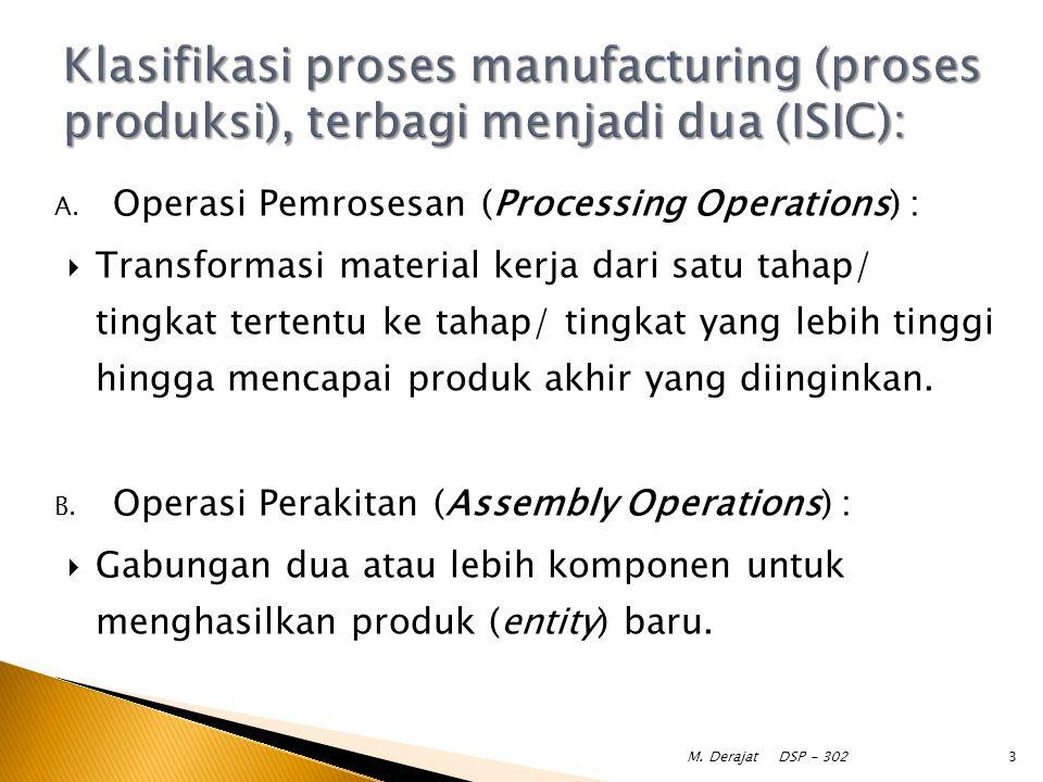 A. Operasi Pemrosesan (Processing Operations) :  Transformasi material kerja dari satu tahap/ tingkat tertentu ke tahap/ tingkat yang lebih tinggi hi