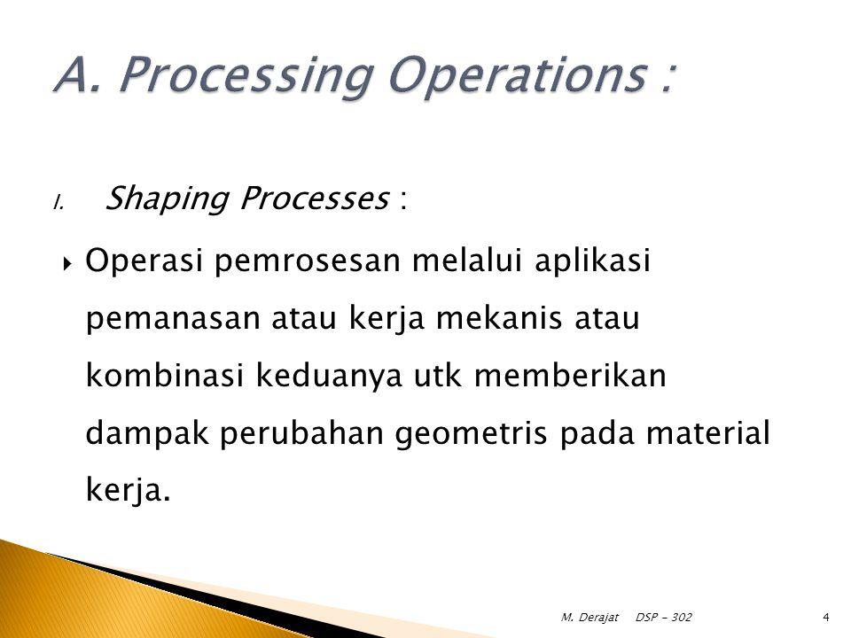I. Shaping Processes :  Operasi pemrosesan melalui aplikasi pemanasan atau kerja mekanis atau kombinasi keduanya utk memberikan dampak perubahan geom
