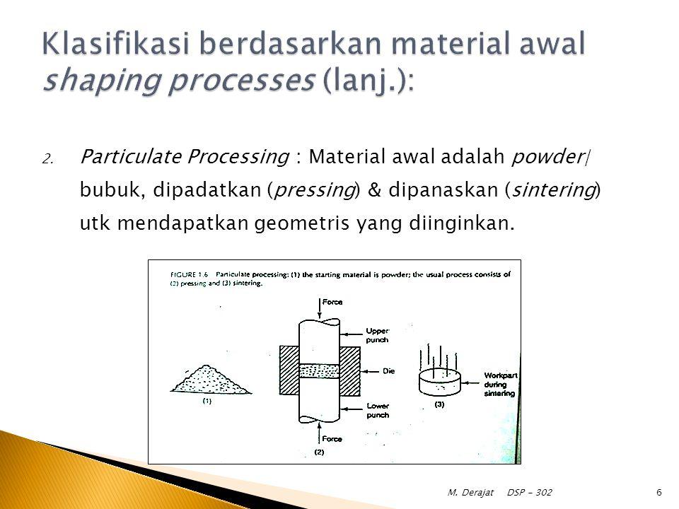 2. Particulate Processing : Material awal adalah powder/ bubuk, dipadatkan (pressing) & dipanaskan (sintering) utk mendapatkan geometris yang diingink