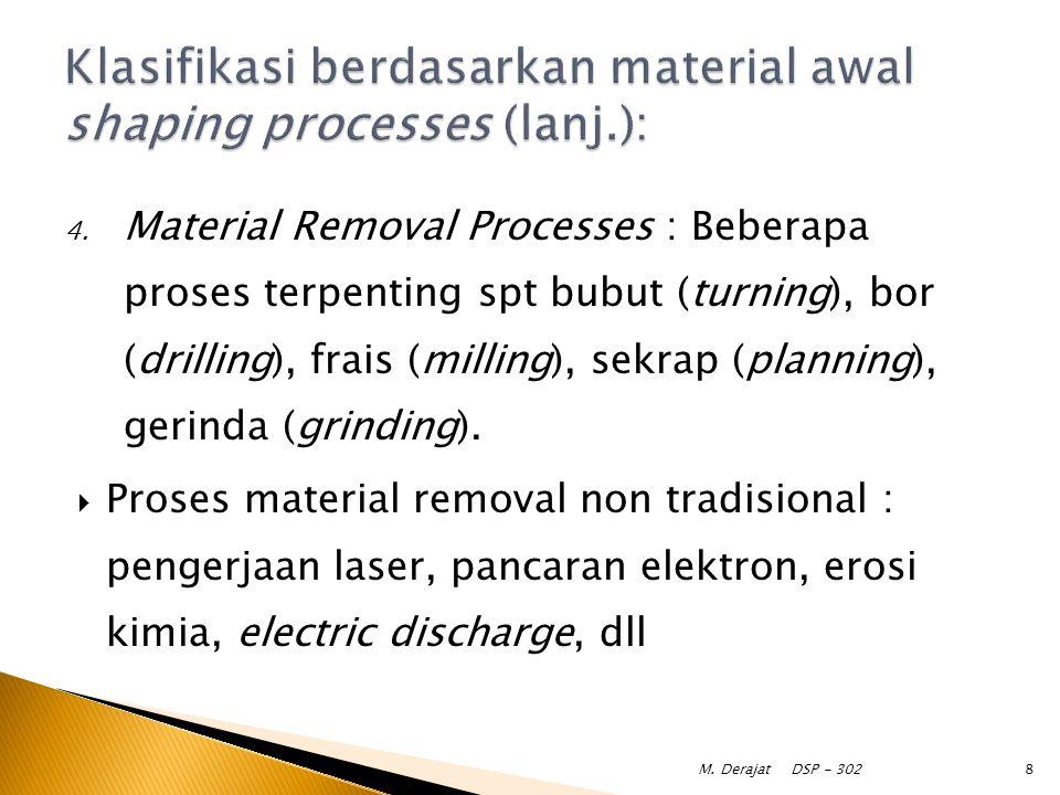 4. Material Removal Processes : Beberapa proses terpenting spt bubut (turning), bor (drilling), frais (milling), sekrap (planning), gerinda (grinding)