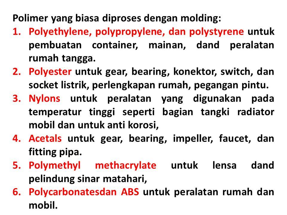 Polimer yang biasa diproses dengan molding: 1.Polyethylene, polypropylene, dan polystyrene untuk pembuatan container, mainan, dand peralatan rumah tan