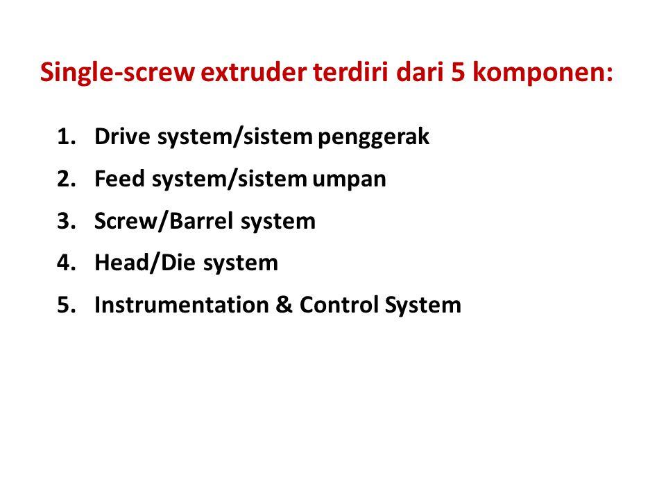 Single-screw extruder terdiri dari 5 komponen: 1.Drive system/sistem penggerak 2.Feed system/sistem umpan 3.Screw/Barrel system 4.Head/Die system 5.In