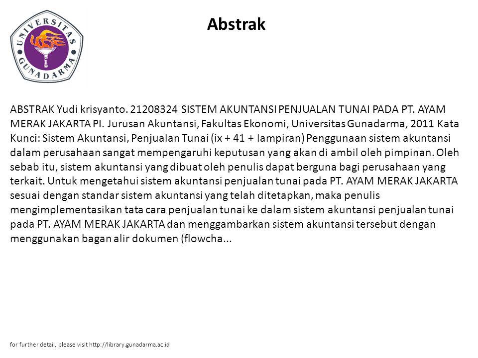 Abstrak ABSTRAK Yudi krisyanto. 21208324 SISTEM AKUNTANSI PENJUALAN TUNAI PADA PT.