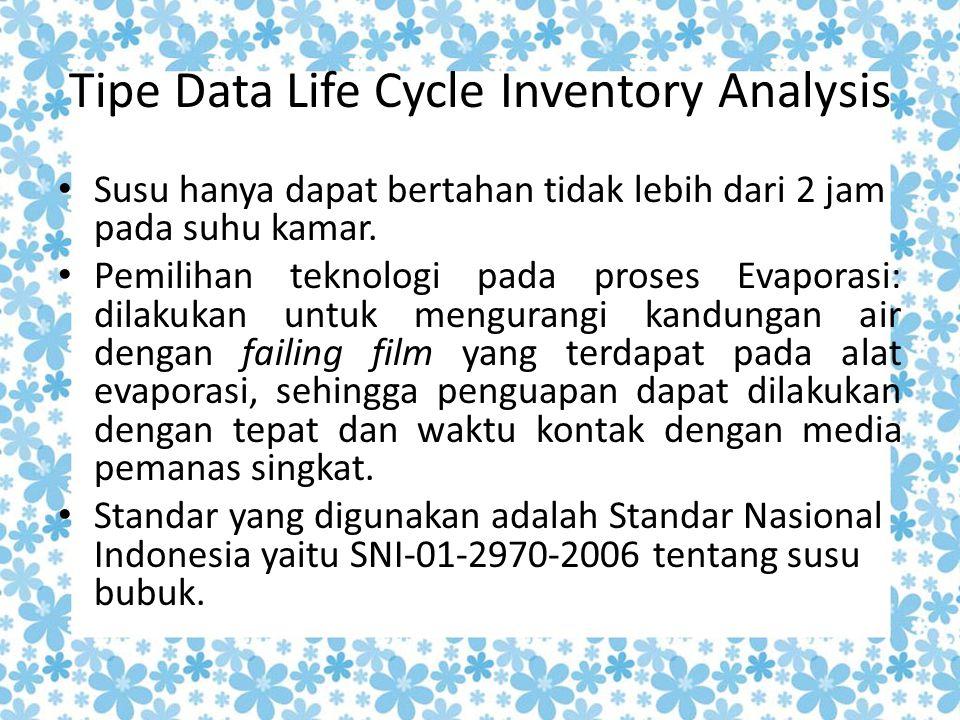 Tipe Data Life Cycle Inventory Analysis Susu hanya dapat bertahan tidak lebih dari 2 jam pada suhu kamar. Pemilihan teknologi pada proses Evaporasi: d