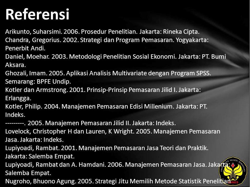 Referensi Arikunto, Suharsimi. 2006. Prosedur Penelitian. Jakarta: Rineka Cipta. Chandra, Gregorius. 2002. Strategi dan Program Pemasaran. Yogyakarta: