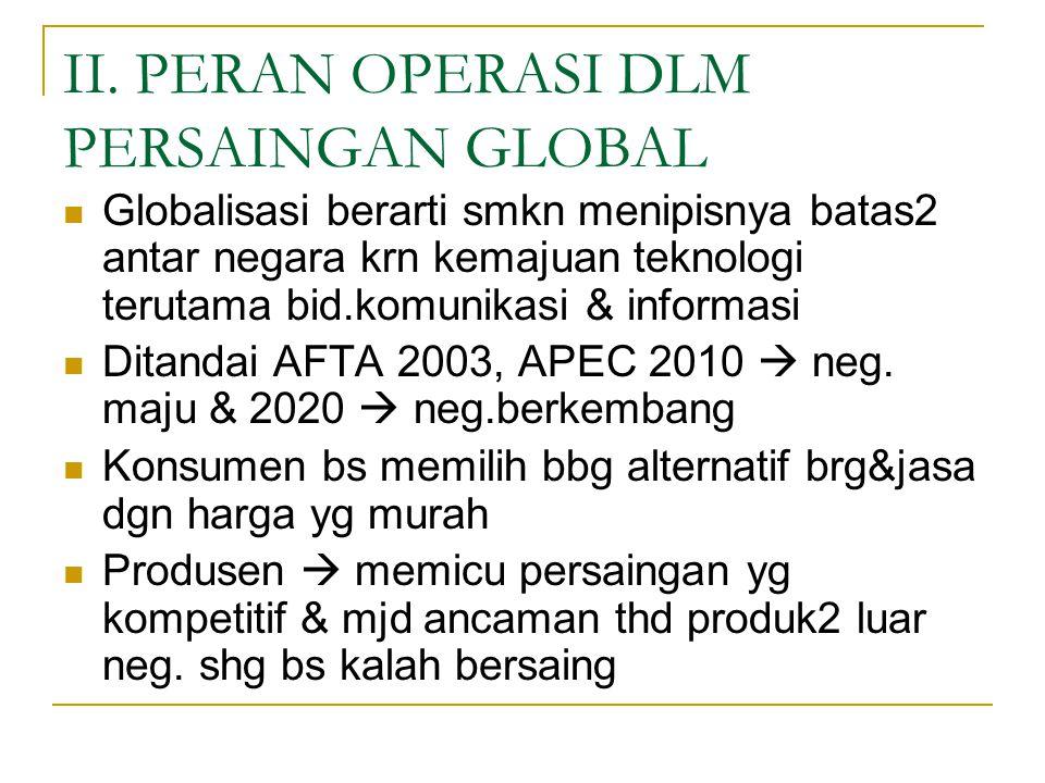 II. PERAN OPERASI DLM PERSAINGAN GLOBAL Globalisasi berarti smkn menipisnya batas2 antar negara krn kemajuan teknologi terutama bid.komunikasi & infor