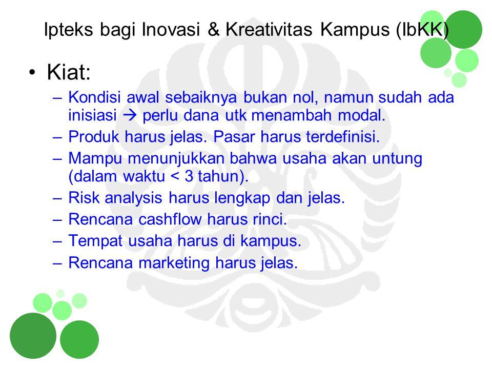Contoh program I b IKK Pengembangan Broadcasting Center di Universitas Indonesia Pengembangan Unit P2M untuk Pengembangan Sumber Daya Manusia di Industri Nasional.