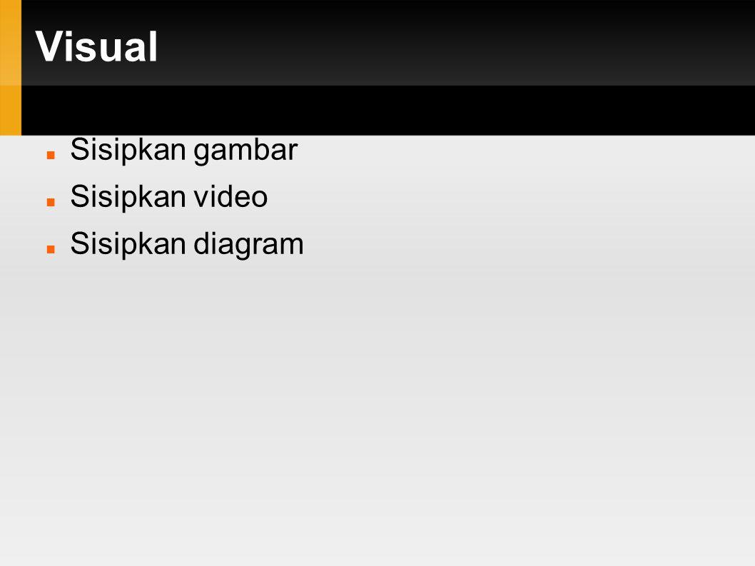 Visual Sisipkan gambar Sisipkan video Sisipkan diagram