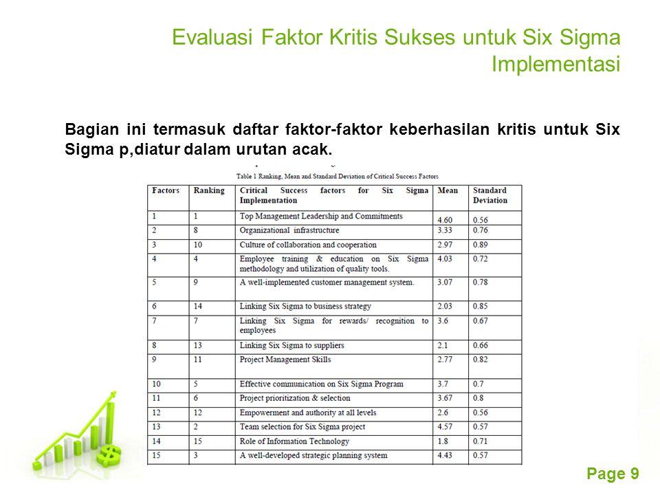 Free Powerpoint Templates Page 9 Evaluasi Faktor Kritis Sukses untuk Six Sigma Implementasi Bagian ini termasuk daftar faktor-faktor keberhasilan krit