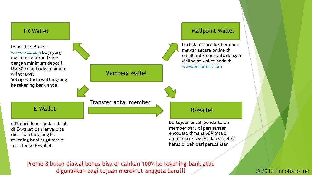 Members Wallet Mallpoint Wallet R-Wallet FX Wallet E-Wallet Deposit ke Broker www.fxcc.com bagi yang mahu melakukan trade dengan minimum deposit Usd500 dan tiada minimum withdrawal Setiap withdarwal langsung ke rekening bank anda 60% dari Bonus Anda adalah di E-wallet dan ianya bisa dicarikan langsung ke rekening bank juga bisa di transfer ke R-wallet Bertujuan untuk pendaftaran member baru di perusahaan encobato dimana 60% bisa di ambil dari E-wallet dan sisa 40% harus di beli dari perusahaan Transfer antar member Berbelanja produk bermaret mewah secara online di emall milik encobato dengan Mallpoint wallet anda di www.encomall.com Promo 3 bulan diawal bonus bisa di cairkan 100% ke rekening bank atau digunakkan bagi tujuan merekrut anggota baru!!.