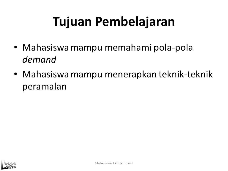 Contoh Perhitungan Peramalan Regresi (4) Fungsi Regresi : D(t) = 670 + 130t Maka (D(t)) demand pada saat t = 6 adalah D(6) = 670 + 130 x 6 = 670 + 780 = 1450 Muhammad Adha Ilhami