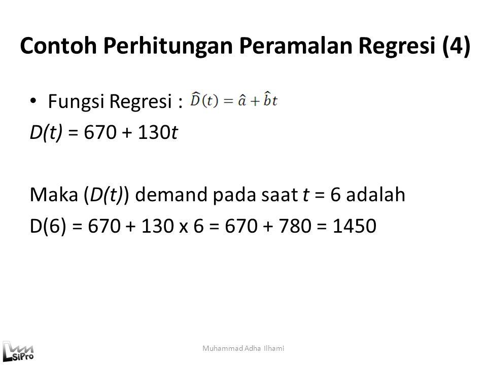 Contoh Perhitungan Peramalan Regresi (4) Fungsi Regresi : D(t) = 670 + 130t Maka (D(t)) demand pada saat t = 6 adalah D(6) = 670 + 130 x 6 = 670 + 780
