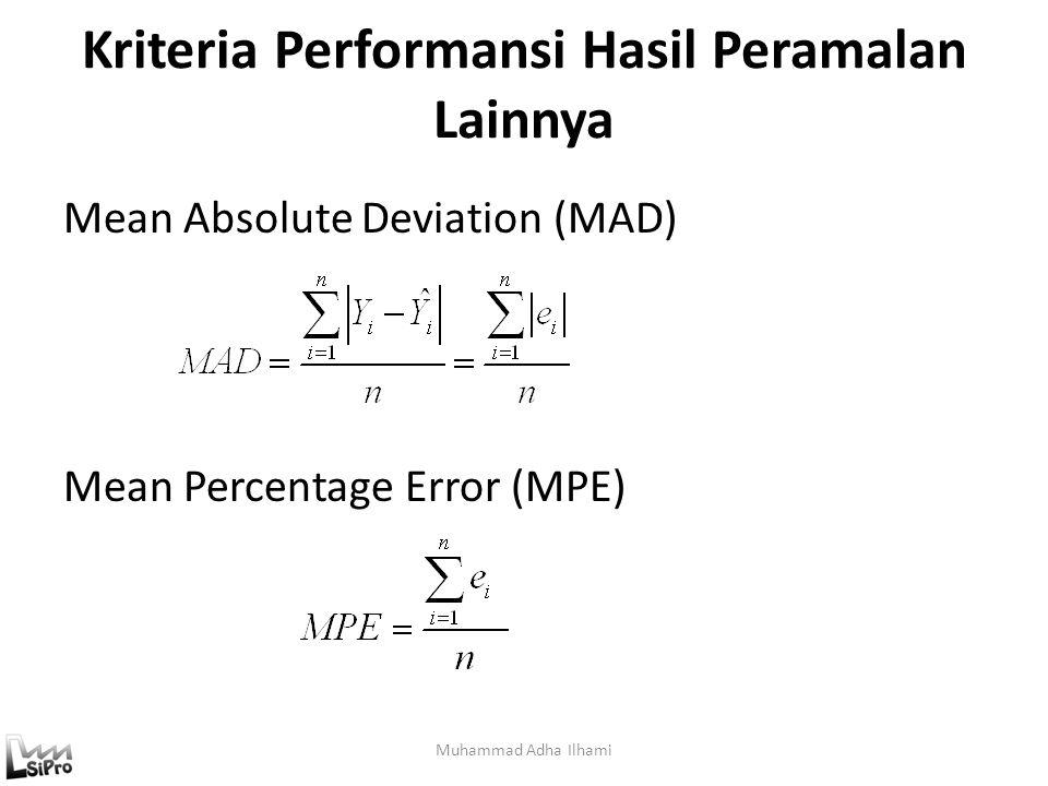 Kriteria Performansi Hasil Peramalan Lainnya Muhammad Adha Ilhami Mean Absolute Deviation (MAD) Mean Percentage Error (MPE)