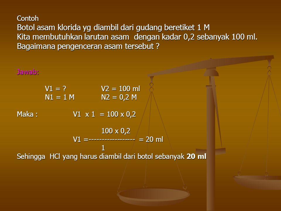 Contoh Botol asam klorida yg diambil dari gudang beretiket 1 M Kita membutuhkan larutan asam dengan kadar 0,2 sebanyak 100 ml. Bagaimana pengenceran a