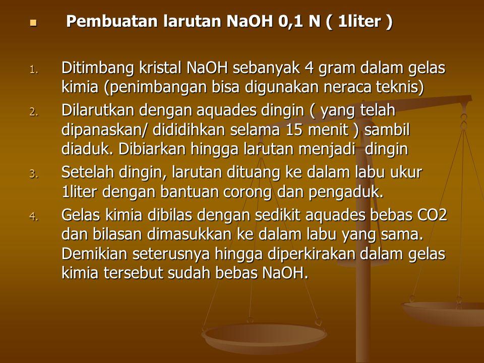 Pembuatan larutan NaOH 0,1 N ( 1liter ) Pembuatan larutan NaOH 0,1 N ( 1liter ) 1. Ditimbang kristal NaOH sebanyak 4 gram dalam gelas kimia (penimbang