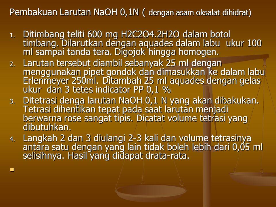 Pembakuan Larutan NaOH 0,1N ( dengan asam oksalat dihidrat) PERHITUNGAN: berat H2C2O4 hasil penimbangan berat H2C2O4 hasil penimbangan N H 2 C 2 O 4 = BE H2C2O4 X Volume larutan yang dibuat BE H2C2O4 X Volume larutan yang dibuat N H2C2O4 x V H2C2O4 yg dititrasi N H2C2O4 x V H2C2O4 yg dititrasi N NaOH = V NaOH yg di pakai titrasi V NaOH yg di pakai titrasi