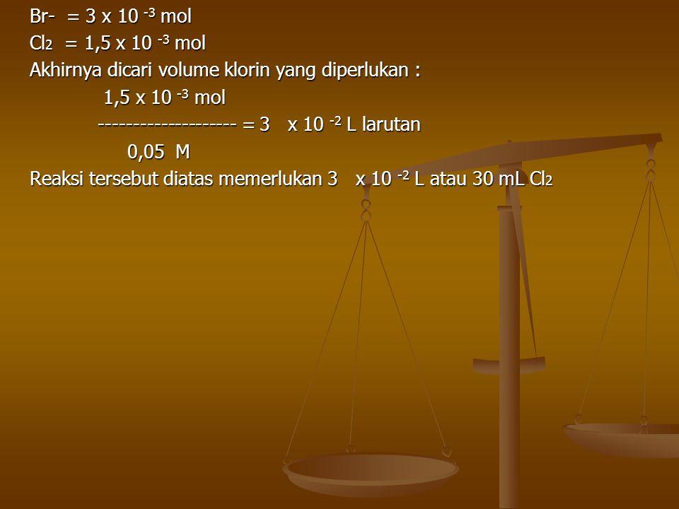 Br- = 3 x 10 -3 mol Cl 2 = 1,5 x 10 -3 mol Akhirnya dicari volume klorin yang diperlukan : 1,5 x 10 -3 mol 1,5 x 10 -3 mol -------------------- = 3 x