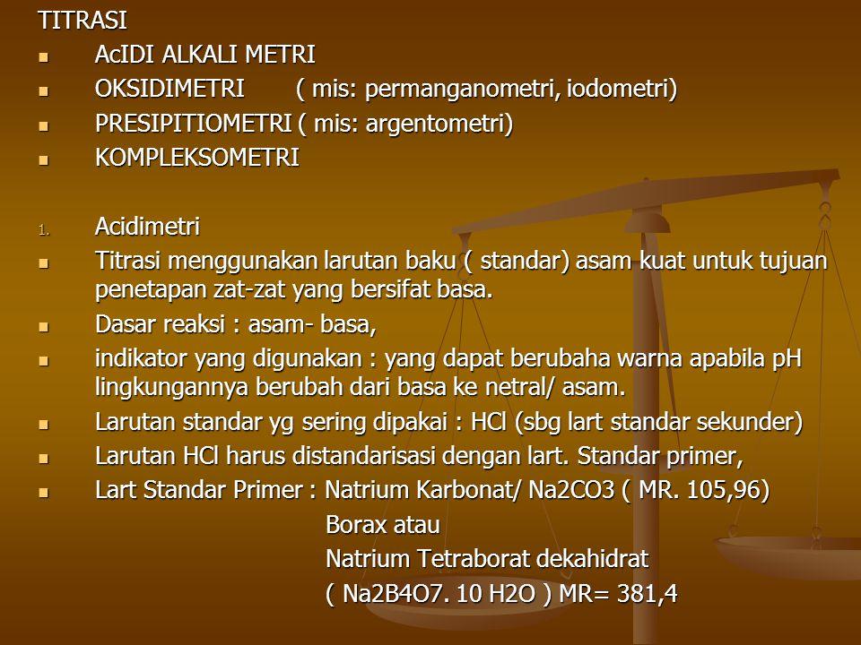 TITRASI AcIDI ALKALI METRI AcIDI ALKALI METRI OKSIDIMETRI( mis: permanganometri, iodometri) OKSIDIMETRI( mis: permanganometri, iodometri) PRESIPITIOME