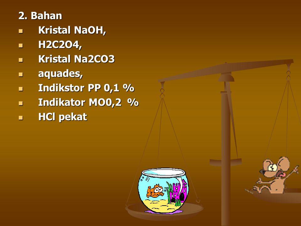2. Bahan Kristal NaOH, Kristal NaOH, H2C2O4, H2C2O4, Kristal Na2CO3 Kristal Na2CO3 aquades, aquades, Indikstor PP 0,1 % Indikstor PP 0,1 % Indikator M