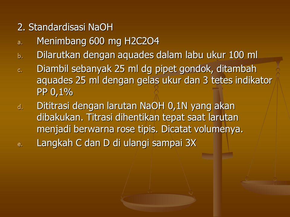 2. Standardisasi NaOH a. Menimbang 600 mg H2C2O4 b. Dilarutkan dengan aquades dalam labu ukur 100 ml c. Diambil sebanyak 25 ml dg pipet gondok, ditamb