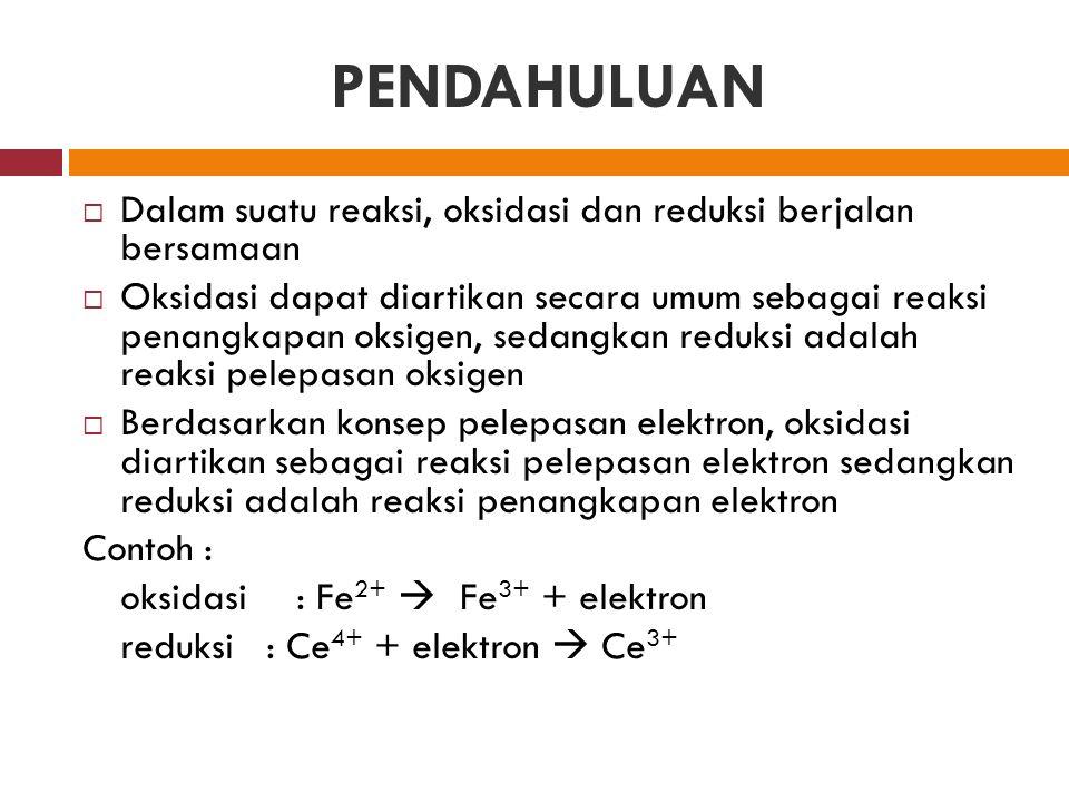 PENDAHULUAN  Dalam suatu reaksi, oksidasi dan reduksi berjalan bersamaan  Oksidasi dapat diartikan secara umum sebagai reaksi penangkapan oksigen, s