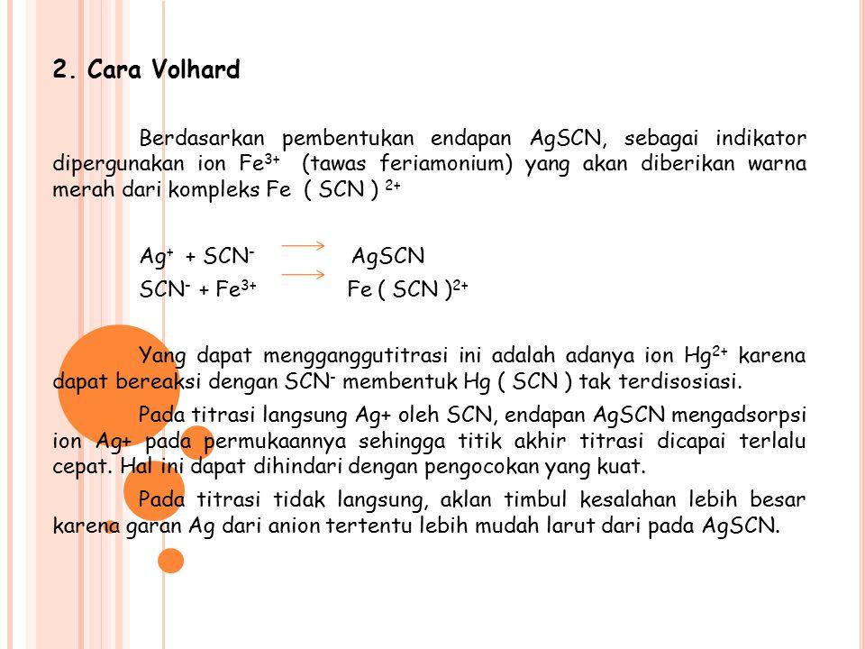2. Cara Volhard Berdasarkan pembentukan endapan AgSCN, sebagai indikator dipergunakan ion Fe 3+ (tawas feriamonium) yang akan diberikan warna merah da