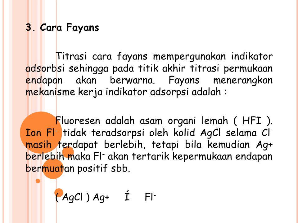3. Cara Fayans Titrasi cara fayans mempergunakan indikator adsorbsi sehingga pada titik akhir titrasi permukaan endapan akan berwarna. Fayans menerang