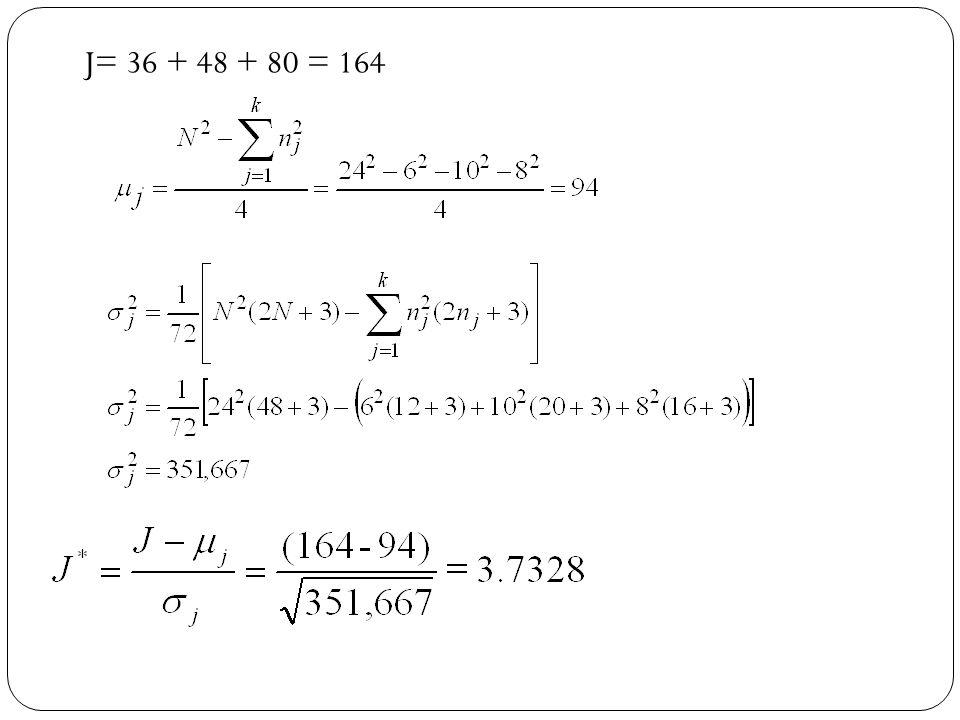 J= 36 + 48 + 80 = 164