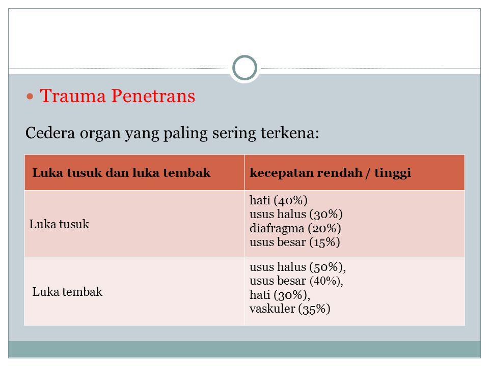 Trauma Penetrans Cedera organ yang paling sering terkena: Luka tusuk dan luka tembakkecepatan rendah / tinggi Luka tusuk hati (40%) usus halus (30%) d