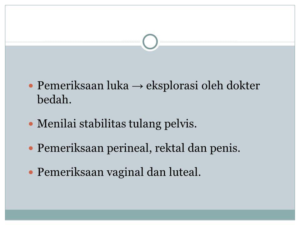 Pemeriksaan luka → eksplorasi oleh dokter bedah. Menilai stabilitas tulang pelvis. Pemeriksaan perineal, rektal dan penis. Pemeriksaan vaginal dan lut