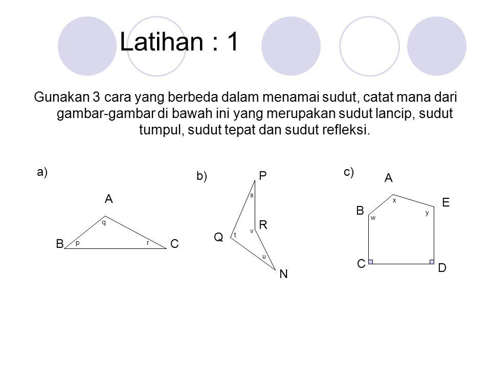 Latihan : 1 Gunakan 3 cara yang berbeda dalam menamai sudut, catat mana dari gambar-gambar di bawah ini yang merupakan sudut lancip, sudut tumpul, sudut tepat dan sudut refleksi.
