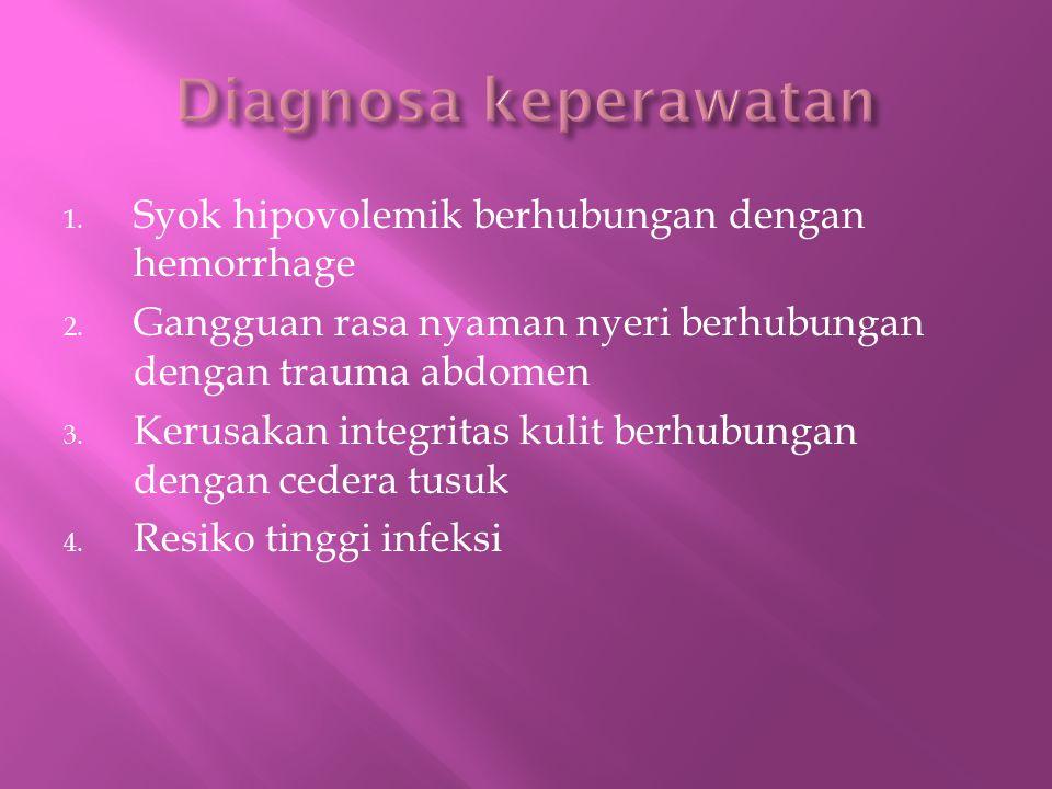 1.Syok hipovolemik berhubungan dengan hemorrhage 2.