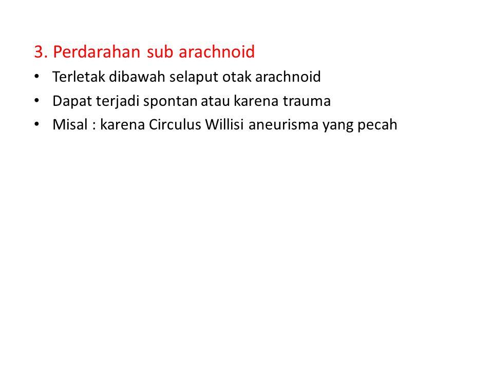 3. Perdarahan sub arachnoid Terletak dibawah selaput otak arachnoid Dapat terjadi spontan atau karena trauma Misal : karena Circulus Willisi aneurisma