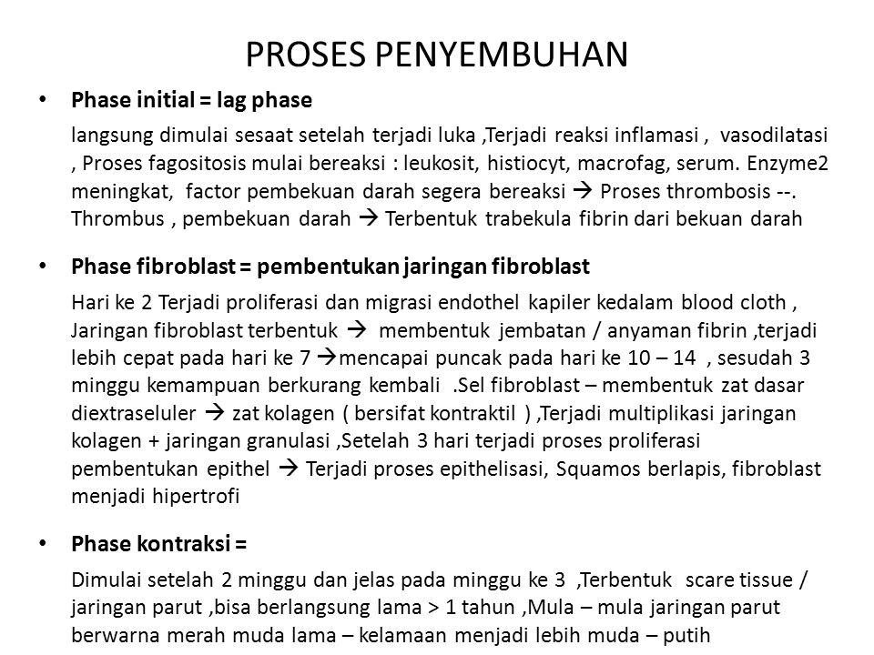 PROSES PENYEMBUHAN Phase initial = lag phase langsung dimulai sesaat setelah terjadi luka,Terjadi reaksi inflamasi, vasodilatasi, Proses fagositosis m