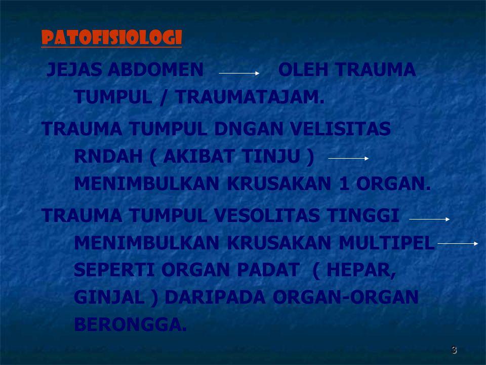 3 PATOFISIOLOGI JEJAS ABDOMEN OLEH TRAUMA TUMPUL / TRAUMATAJAM. TRAUMA TUMPUL DNGAN VELISITAS RNDAH ( AKIBAT TINJU ) MENIMBULKAN KRUSAKAN 1 ORGAN. TRA