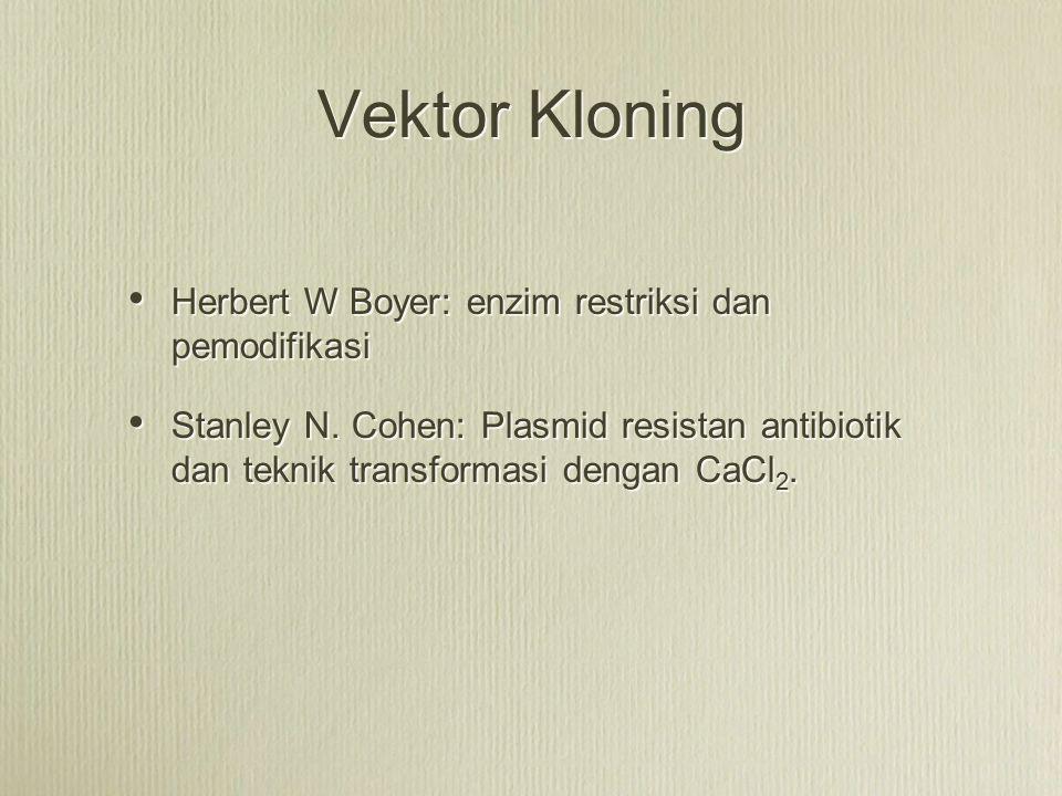Vektor Kloning Herbert W Boyer: enzim restriksi dan pemodifikasi Stanley N. Cohen: Plasmid resistan antibiotik dan teknik transformasi dengan CaCl 2.
