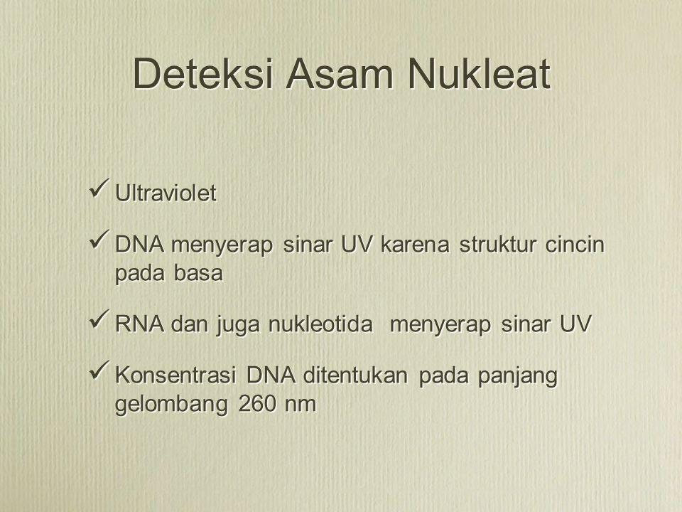 Deteksi Asam Nukleat Ultraviolet DNA menyerap sinar UV karena struktur cincin pada basa RNA dan juga nukleotida menyerap sinar UV Konsentrasi DNA dite