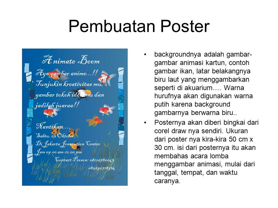 Pembuatan Poster backgroundnya adalah gambar- gambar animasi kartun, contoh gambar ikan, latar belakangnya biru laut yang menggambarkan seperti di aku