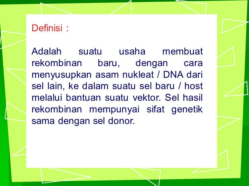 Definisi : Adalah suatu usaha membuat rekombinan baru, dengan cara menyusupkan asam nukleat / DNA dari sel lain, ke dalam suatu sel baru / host melalui bantuan suatu vektor.