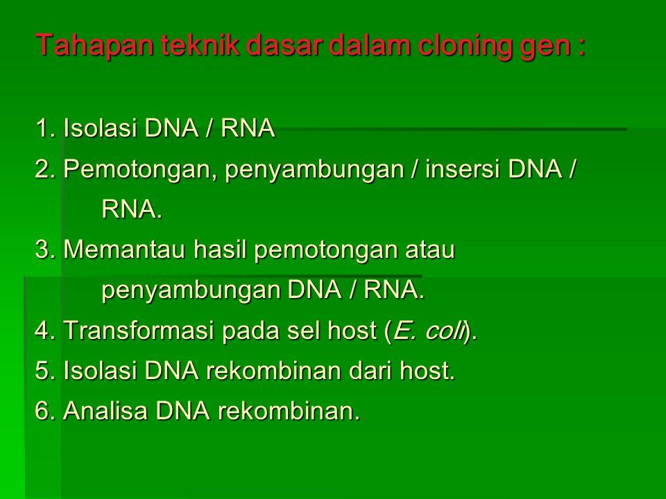 Plasmid yang ideal harus mempunyai sifat : 1.Berukuran kecil 2.